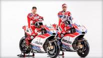 """Ducati"" prezentē Lorenso un Doviciozo MotoGP motociklus"