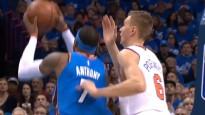 Porziņģis nobloķē Entoniju un tiek NBA dienas topā