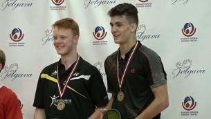 """Video: """"Yonex Latvia International"""" vīriešu dubultspēlēs uzvar Francijas duets"""