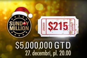 IELŪGUMS! 27.decembrī $5M Sunday Million Freeroll tikai LATVIJAS spēlētājiem