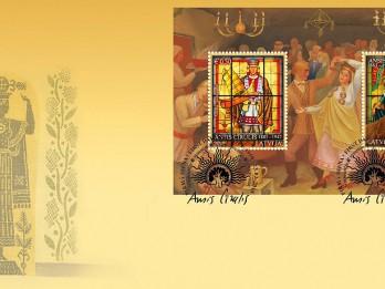 Latvijas Pasts velta pastmarku bloku valsts karoga standarta un pirmās pastmarkas autoram Ansim Cīrulim
