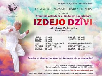 No 17. - 24. aprīlim Latvijas Biodanza skolotāju asociācija aicina uz Atvērtajām Biodanza (biodejas) nodarbībām  9 Latvijas pilsētās Izdejo dzīvi!
