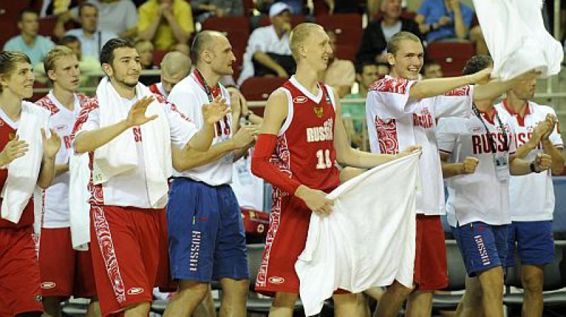 Krievijas basketbolisti  Foto: Romāns Kokšarovs, Sporta Avīze, f64