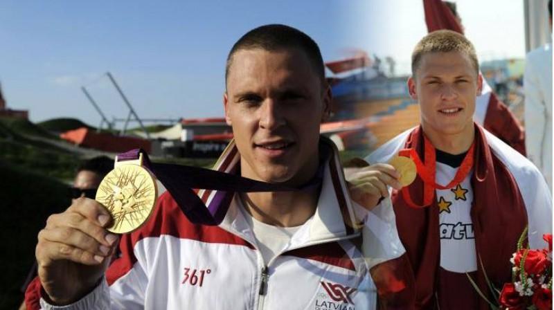 Māris Štrombergs ar olimpiskajām medaļām. Kolāža no sportista Facebook profila