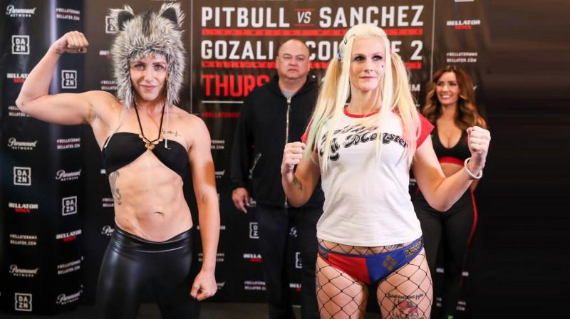 Olga Rubina un beļģiete Sindija Danduā  Foto: Bellator MMA