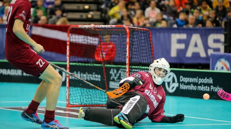 Lielisku spēli Latvijas izlases vārtos aizvadīja Jānis Salcevičs Foto: Ritvars Raits, Floorball.lv