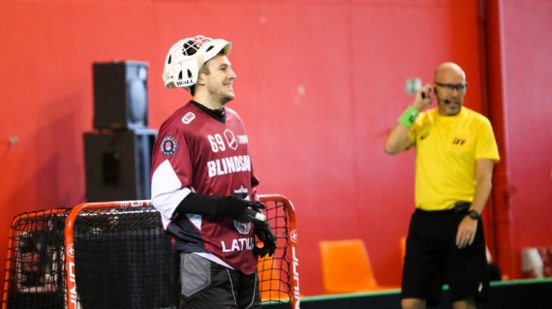 Latvijas izlases vārtsargs Jānis Salcevičs. Foto: Ritvars Raits, floorball.lv