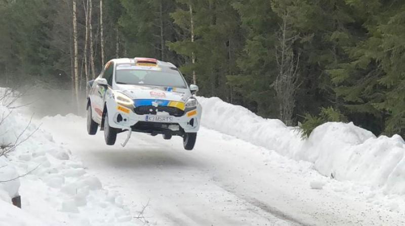 Mārtiņa Seska ekipāža Zviedrijā. Foto: Mārtiņš Poikāns