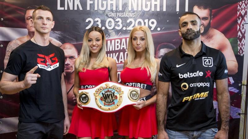 Zaurs Džavadovs (pa labi) un Jozefs Kolodzejs pirms cīņas. Foto: LNK Boxing