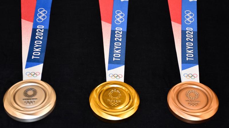 Tokijas olimpisko spēļu medaļas. Foto: Alexei Zavrachayev/TASS/Scanpix