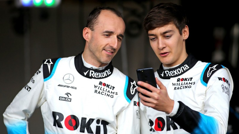 Roberts Kubica un Džordžs Rasels. Foto: ROKiT Williams Racing
