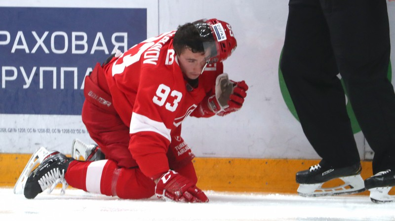 "Maskavas ""Spartak"" hokejists Aleksandrs Hohlačovs. Foto: Stanislav Krasilnikov/TASS"