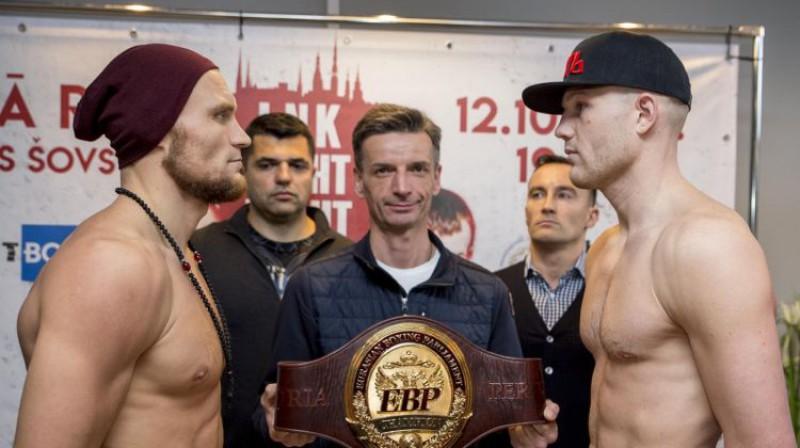 Ričards Bolotņiks un Sergejs Jekimovs dienu pirms cīņas. Foto: Boris Simson/LNK Boxing