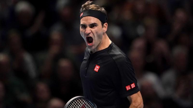 Rodžers Federers 16. reizi spēlēs finālturnīra pusfinālā. PA Wire/PA Images/Scanpix