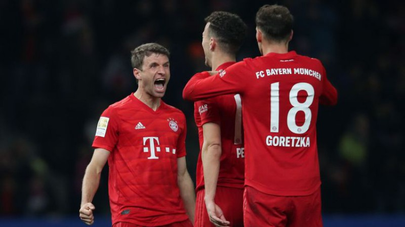 "Vārtu guvumu svin Tomass Millers un ""Bayern"". Foto: AFP/Scanpix"