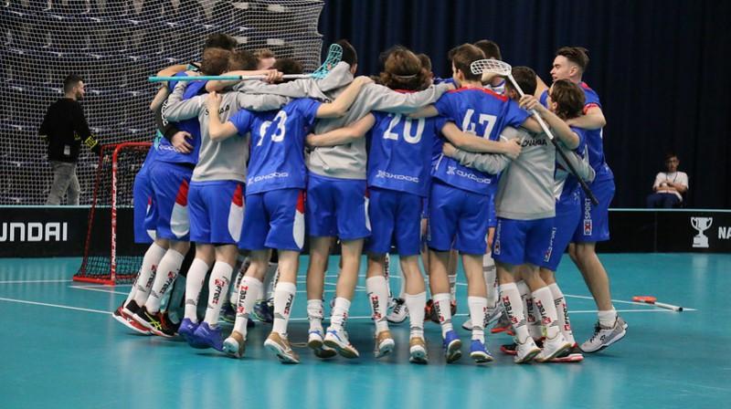 Slovākija līksmo par finālturnīra sasniegšanu Foto: IFF Floorball