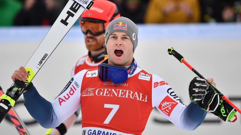 Aleksi Pinturo uzvara Garmišā-Partenkirhenē. Foto: EPA/Scanpix.