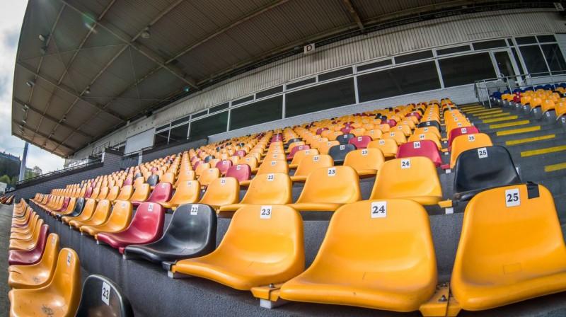 """Tukšas """"Skonto"""" stadiona tribīnes. Foto: """"Riga"""" FC, Zigismunds Zālmanis"""