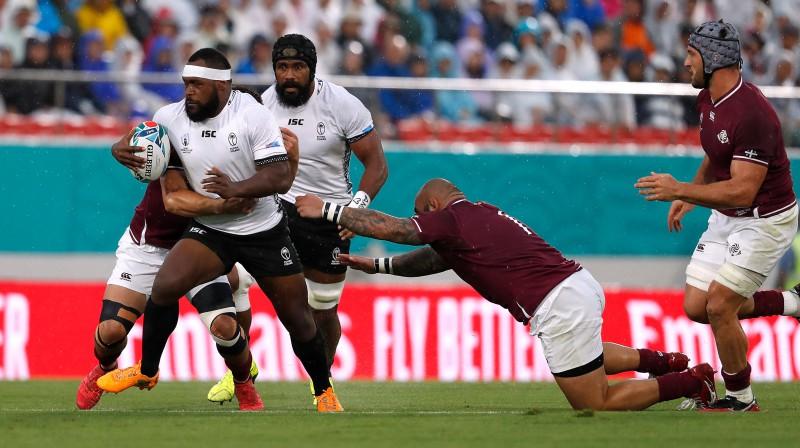Fidži un Gruzijas regbisti 2019. gada Pasaules kausa mačā Foto: Reuters/Scanpix