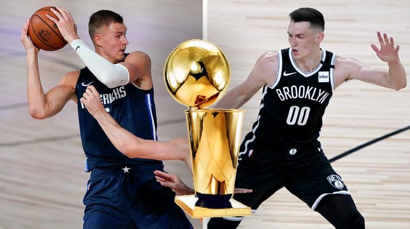 Kristaps Porziņģis, Lerija O'Braiena NBA čempionu trofeja un Rodions Kurucs. Foto: Scanpix