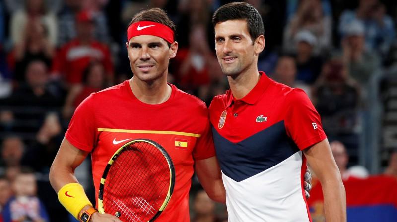 Rafaels Nadals un Novaks Džokovičs 2020. gada ATP kausa izcīņā. Foto: Reuters/Scanpix