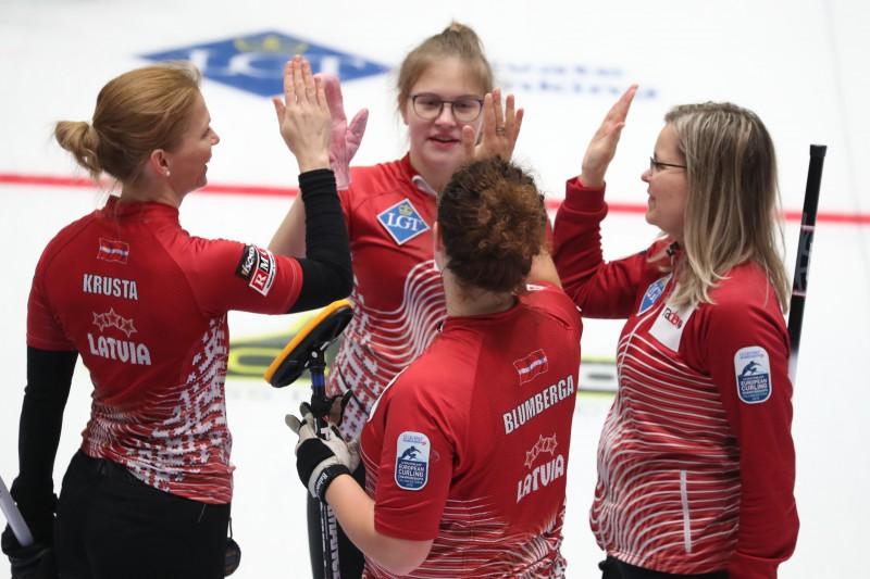 Latvijas sieviešu kērlinga izlase izcīna 5. vietu Eiropā un kvalificējas PČ