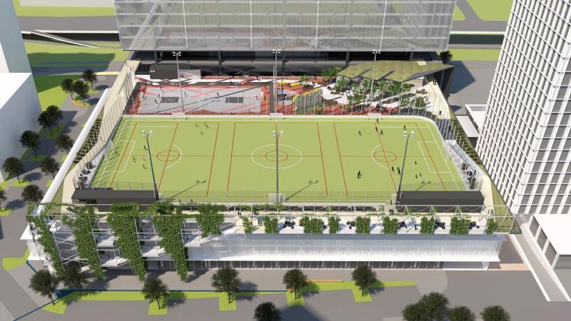 Preses nama teritorijā būs unikāls futbola laukums