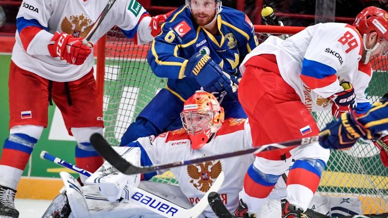 Zviedrija desmit vārtu mačā apspēlē ar NHL zvaigznēm papildināto Krievijas izlasi