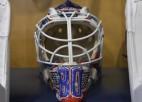 """Merzļikins paskaidro jaunās maskas dizainu: """"Vēlos, lai Matīss vienmēr būtu ar mani"""""""