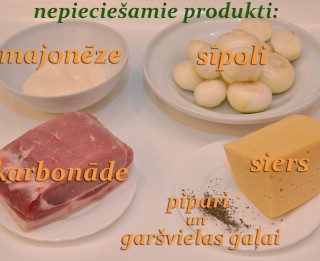 Fotorecepte: Krāsnī cepta karbonāde ar sieru soli pa solim