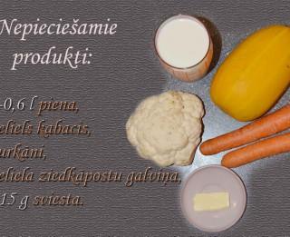 Fotorecepte: Piena zupa ar kabačiem soli pa solim