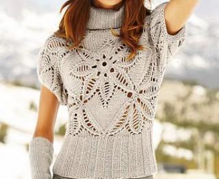 Ziemas periodam piemērots džemperītis ar skaistu leduspuķu rakstu