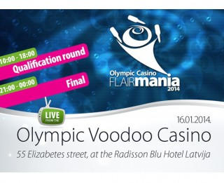 Skaties tiešraidē: Rīgā notiek Pasaules labāko flair bārmeņu sacensības Olympic Casino Flairmania 2014