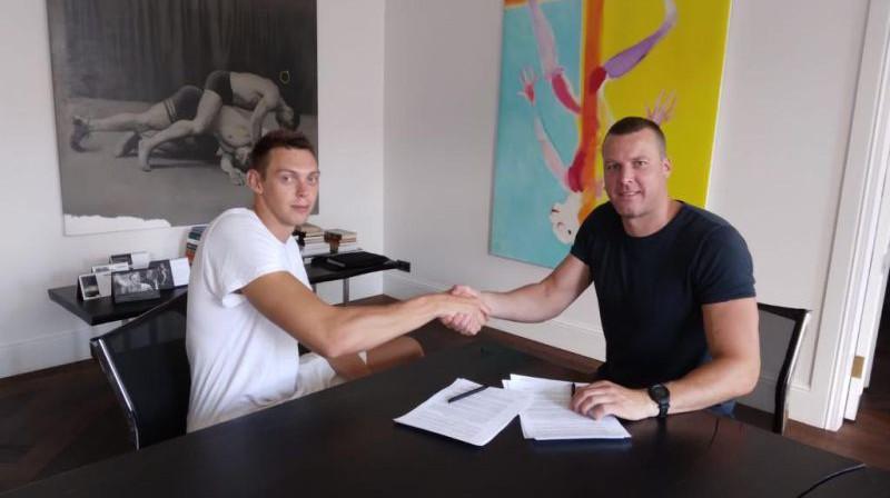 Iļja Gromovs un Gatis Jahovičs. Foto: VEF Rīga