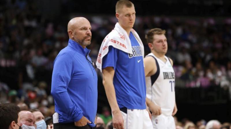 Džeisons Kids, Kristaps Porziņģis, Luka Dončičs. Foto: AP/Scanpix
