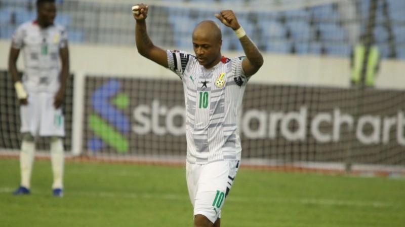 Ganas izlases kapteinis Andrē Ajū svin vārtu guvumu. Foto: Ghana Football Association