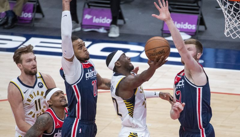 "Bertānam 14+5, Vestbrukam 14+21+24, ""Wizards"" uzvar ""Pacers"""